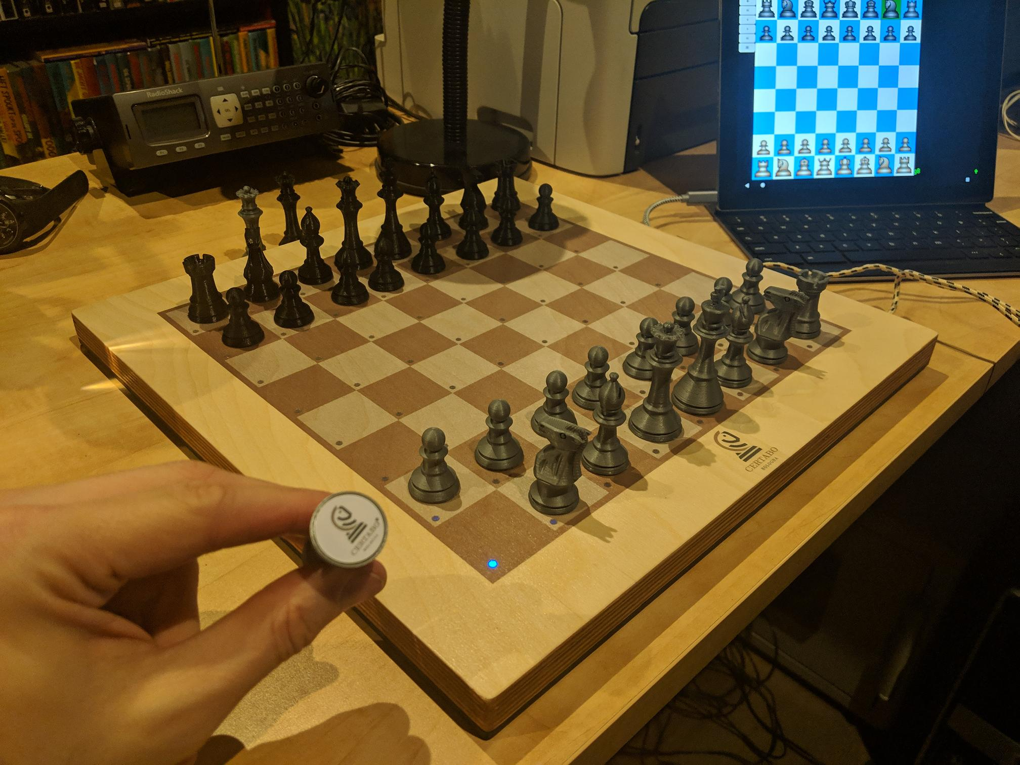 Certabo with 3D printed chess pieces